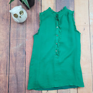 J. Crew Sleeveless Emerald Green Silk Blouse Sz 0